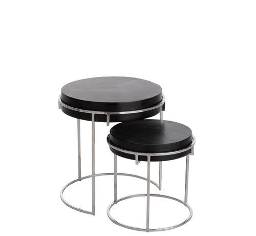 J-Line Side tables Round Aluminum Black