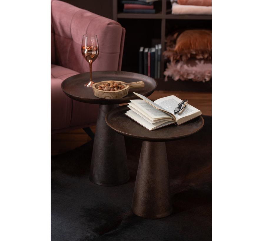 Side Table Round Dark Brown Medium