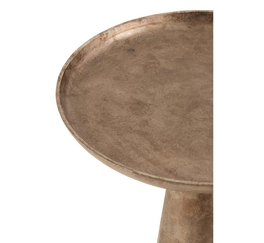 Side Table Round Antique Brown Medium