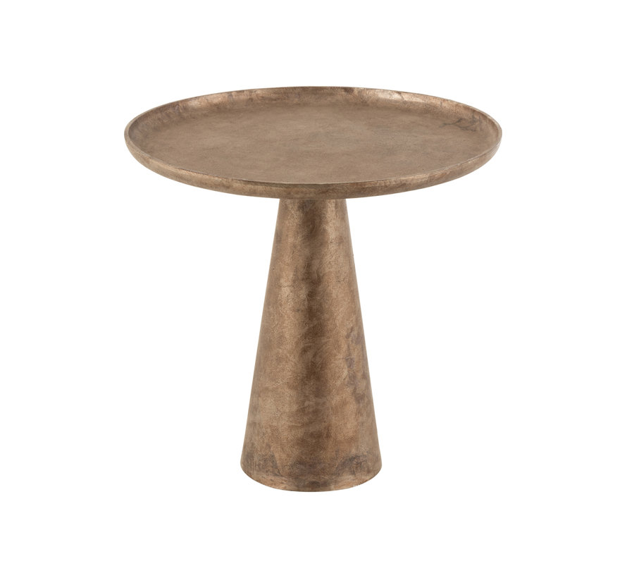 Side Table Round Antique Brown Large