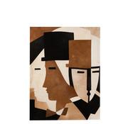 J-Line  Muurdecoratie Gezichten Abstract Leder