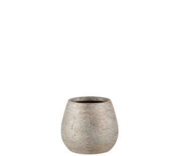 J-Line Flowerpot Raw Silver Ceramic Small