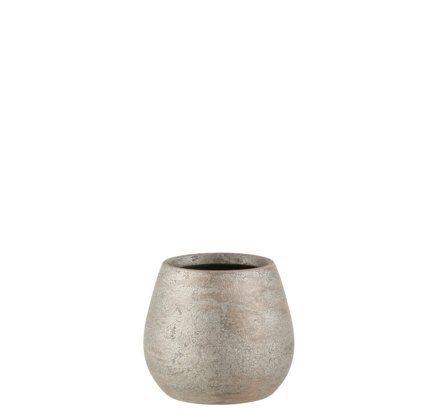 Flowerpot Raw Silver Ceramic Small