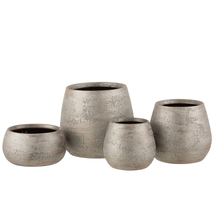 Flower Pot Rough Silver Ceramic Medium