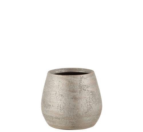 J-Line Flower Pot Rough Silver Ceramic Medium