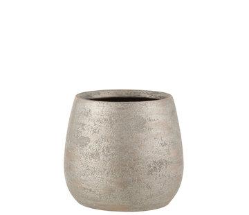 J-Line Flowerpot Raw Silver Ceramic Large