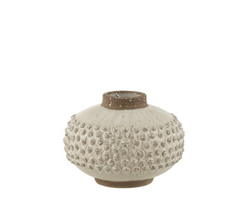 J-Line Vase Uneven ceramic White Small