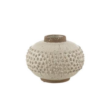 J-Line Vase Uneven ceramic White Large