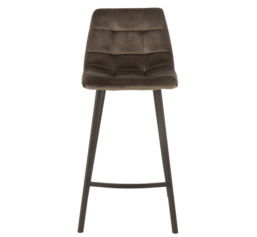 Bar chair High Velvet Dark brown