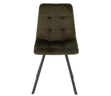 J-Line Dining chair Velvet Dark green