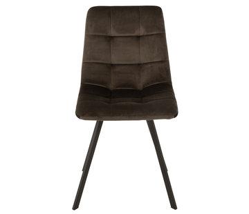 J-Line Dining chair Velvet Dark grey