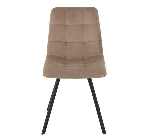 J-Line Dining chair Velvet Dark Beige