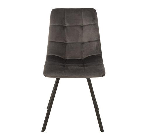 J-Line Dining chair Velvet Grey