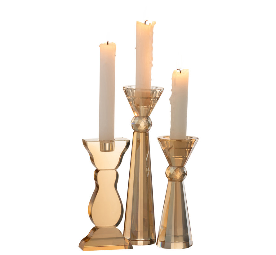 Candlestick Flat Amber Crystal