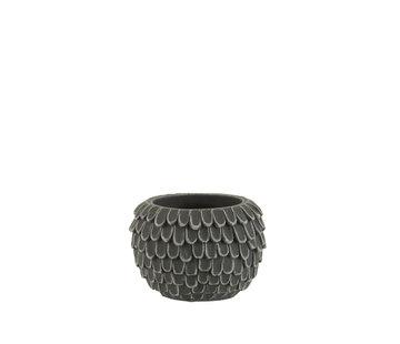 J-Line Bloempot Bladeren Cement Extra Small