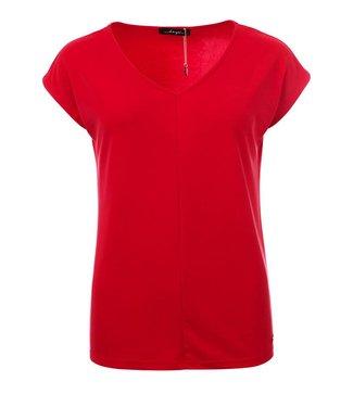 Aretha - V-Hals top met kapmouw in rood