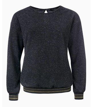 Marlon - Glitter donker grijze sweater  met gouden tape