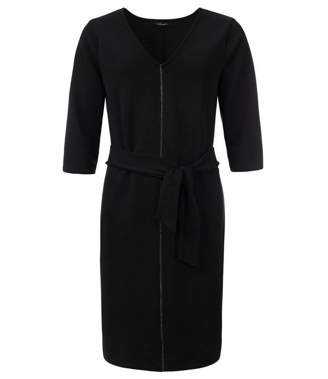 dayz Moise - Zwarte V-hals jurk met een taille strik