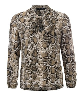 Rebelle - Geprinte strik blouse met fancy manchet