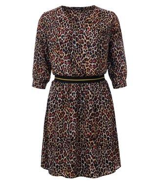 Pauline - Geprinte jurk met elastiek in de taille
