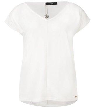 Aretha - cupro v-hals met  kapmouw top in off white