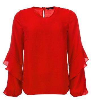 Sascha - Gewebte Bluse mit Rüschenärmel, in rot