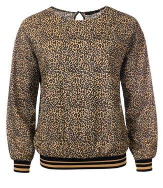 Tammy - Animal print Pullover mit Gold-Schwarz-Besatz