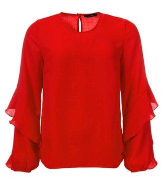 dayz Sascha - Gewebte Bluse mit Rüschenärmel, in rot