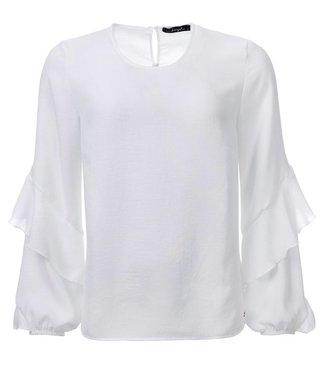 dayz Sascha - Gewebte Bluse mit Rüschenärmel, in gebrochenes Weiß