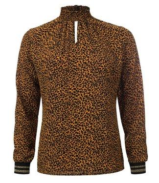 Pheline - Geprinte lange mouwen blouse met smock