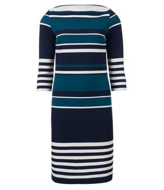 Demi - gestreepte jurk in navy + petrol + off white