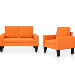vidaXL Bankstel stof oranje 2-delig
