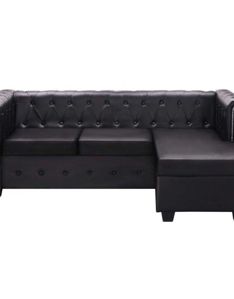 vidaXL Bank Chesterfield-stijl L-vormig kunstleer zwart