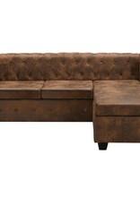 vidaXL Bank Chesterfield-stijl L-vorm kunstsuède bruin
