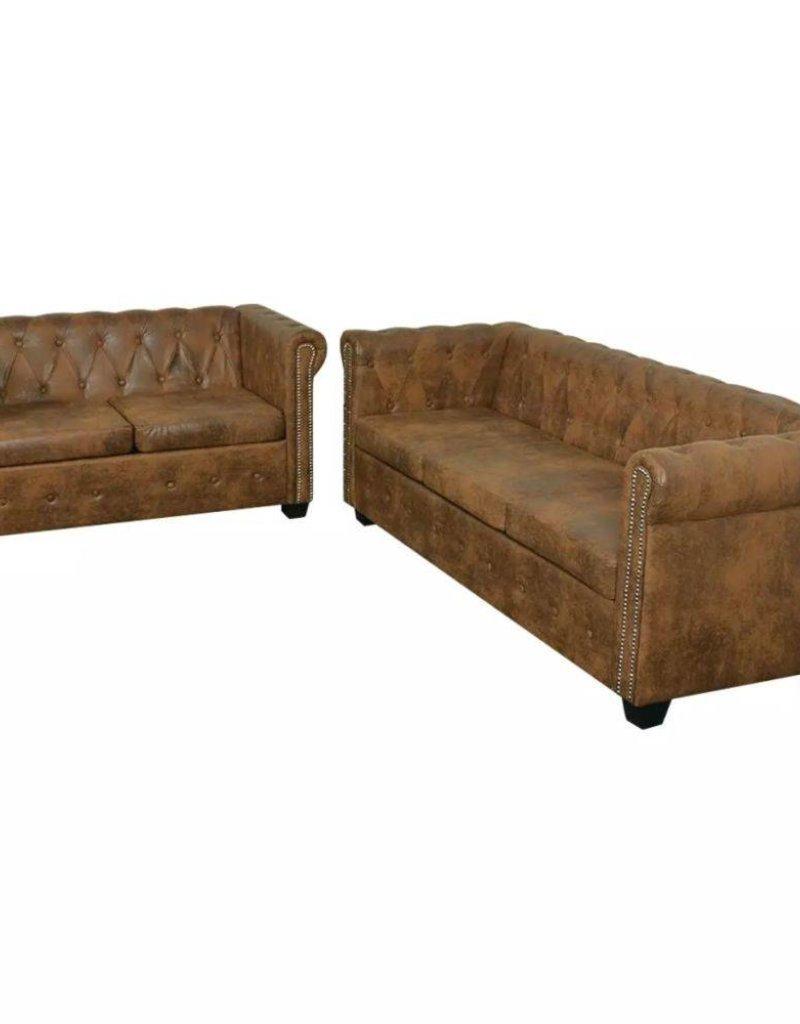 vidaXL Bankstel Chesterfield-stijl 2-zits en 3-zits bruin