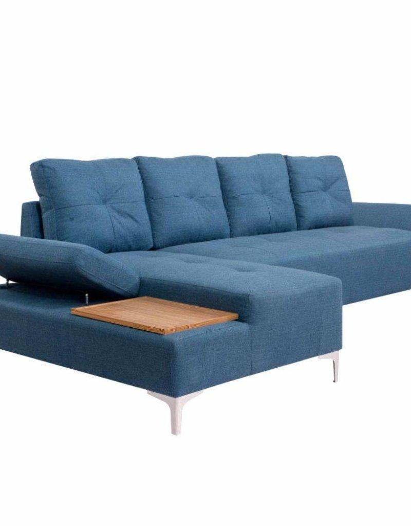 vidaXL Bank L-vormig met houten blad XXL 300 cm stof blauw