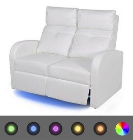 vidaXL LED Leunbank 2-zits kunstleer wit