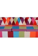 vidaXL Driezitsbank Chesterfield-stijl stof meerkleurig