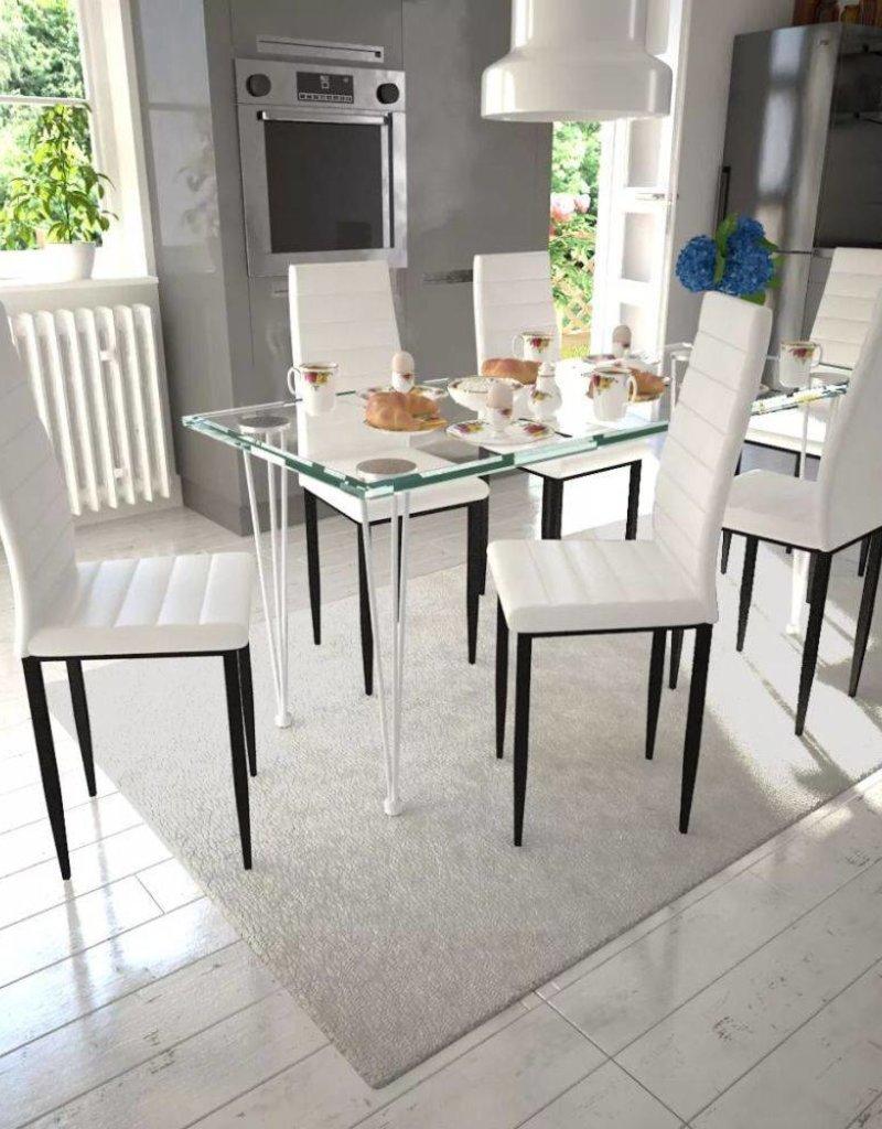 Eettafel Met 6 Witte Stoelen.Vidaxl Eetkamerset 6 Witte Slim Line Stoelen En 1 Glazen Tafel