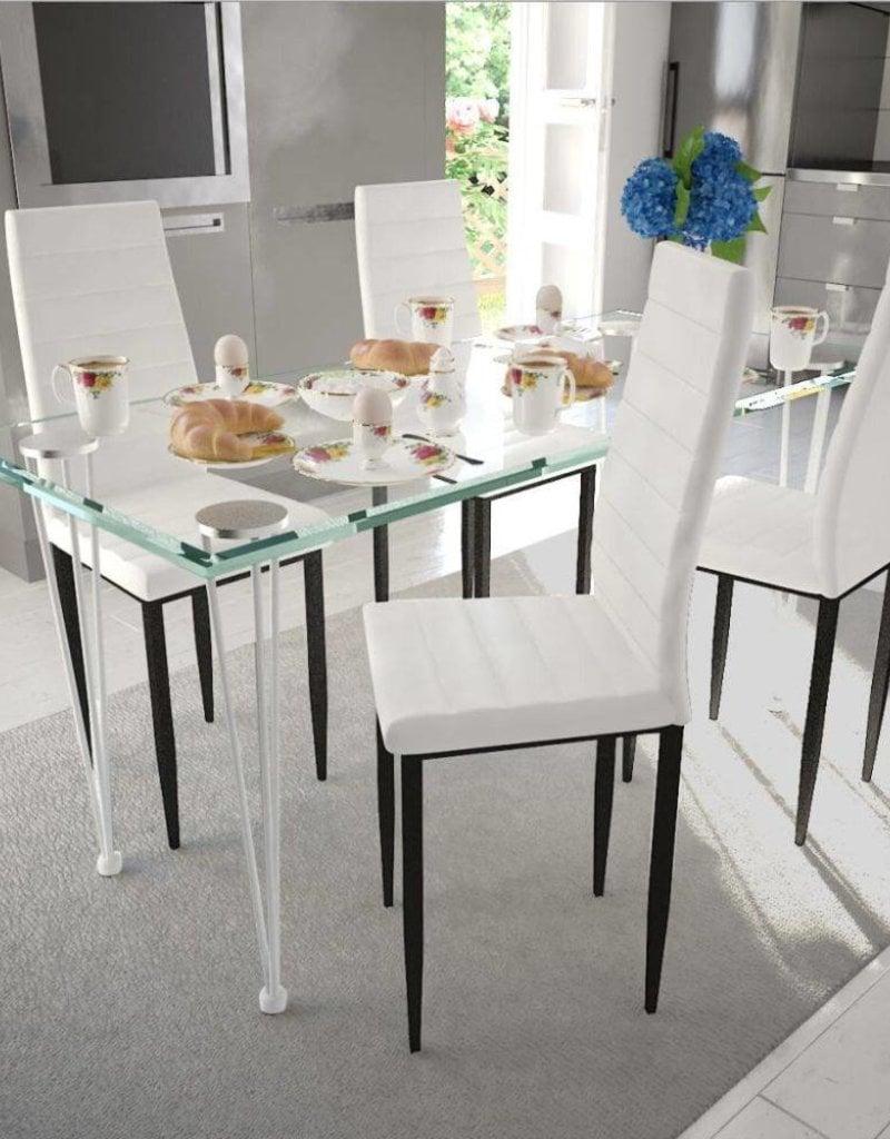 4 Witte Kuipstoelen.Vidaxl 1 Eetkamerset En Glazen Line Tafel Slim 4 Witte Stoelen 9ywh2eid