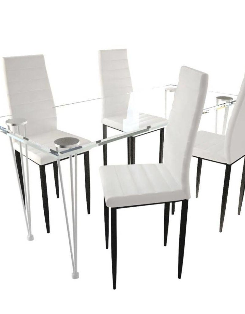 4 Witte Eetstoelen.Vidaxl Eetkamerset 4 Witte Slim Line Stoelen En 1 Glazen Tafel