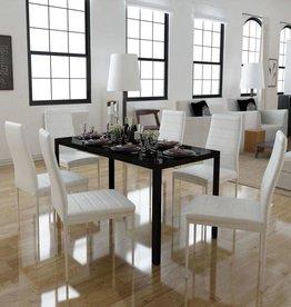 vidaXL Eetkamerset 7-delig wit en zwart