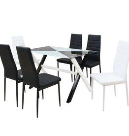 vidaXL viaXL Eetkamerset tafel en stoelen kunstleer 7-delig