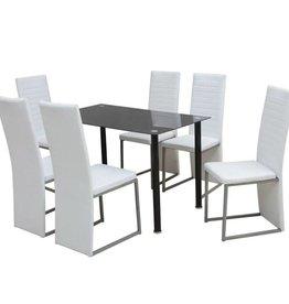vidaXL Eetkamerset zwart en wit 7-delig