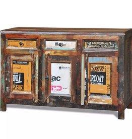 vidaXL Kast met 3 lades en 3 deuren vintage-stijl gerecycled hout