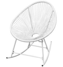 vidaXL Schommelstoel voor in de tuin poly rattan wit