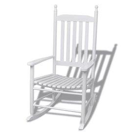 vidaXL Schommelstoel met kromme zitting hout wit