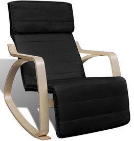 vidaXL Schommelstoel met houten frame verstelbaar zwart