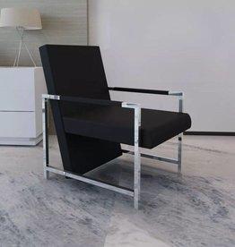 vidaXL Fauteuil design met chromen voeten (zwart)