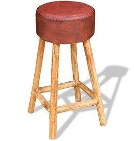 vidaXL Barkruk echt leder bruin en natuurlijk hout 35x78 cm